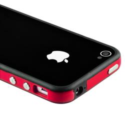 BasAcc Red TPU Bumper Case/ Aluminum Buttons for Apple iPhone 4/ 4S - Thumbnail 2