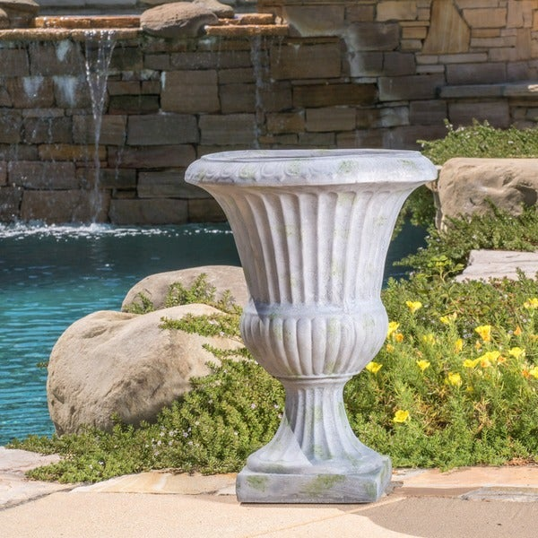 Ulysses 22.5-inch White with Green Moss Urn Planter by Christopher Knight Home