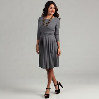 Ellen Tracy Women's Charcoal Ruched Dress