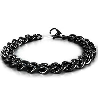Crucible Men's High-polish Black-plated Stainless Steel Curb Chain Bracelet