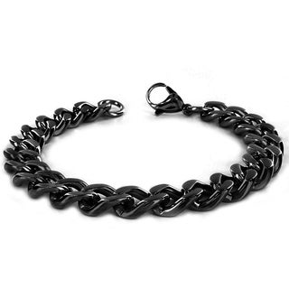 Crucible Black Plated Stainless Steel Curb Chain Bracelet