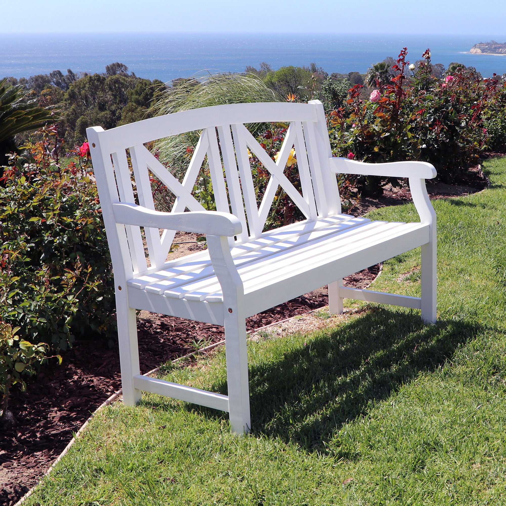 Shop Bradley Outdoor White Wooden Bench Free Shipping On