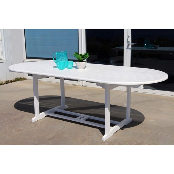 Bradley Outdoor Wood Oval Extension Dining Table Free
