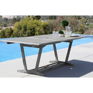 Renaissance Outdoor Hand-scraped Hardwood Rectangular Extension Dining Table