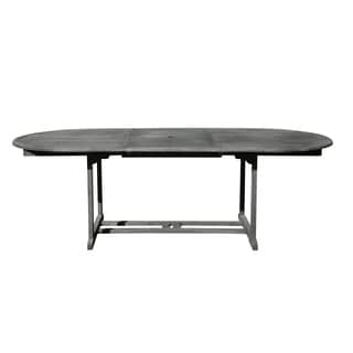 Renaissance Outdoor Hand-scraped Hardwood Oval Extension Dining Table
