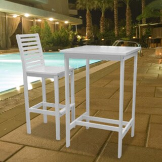 Bradley Outdoor Wood Bar Table and Bar Chair