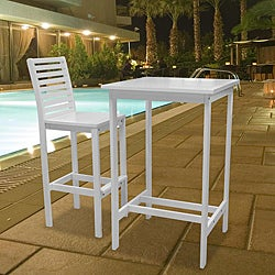 Bradley Outdoor Wood Bar Table and Bar Chair