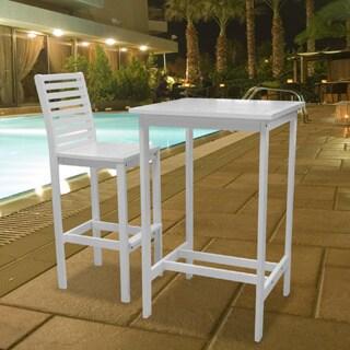 Vifah Bradley Outdoor Wood Bar Table and Bar Chair (Outdo...
