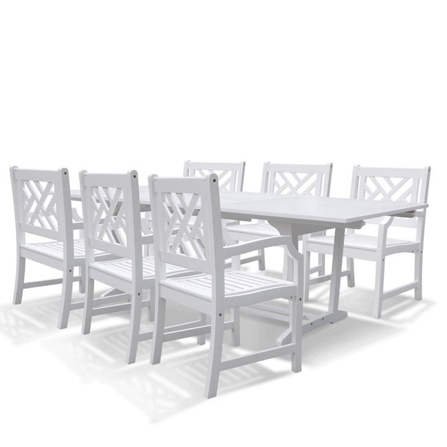 Vifah Bradley Rectangular Extension Table and Armchair Outdoor Wood Dining Set (Outdoor Furniture), White, Patio Furniture (Acacia)