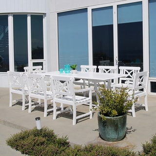 Bradley Rectangular Extension Table and Armchair Outdoor Nine-Piece Wood Dining Set