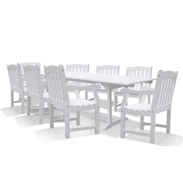 Bradley Rectangular Extension Table and Armchair Outdoor Weather-Resistant Wood Dining Set