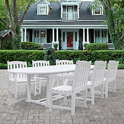 Bradley Weather-Resistant Oval Extension Oval Table and Armchair Outdoor Wood Dining Set