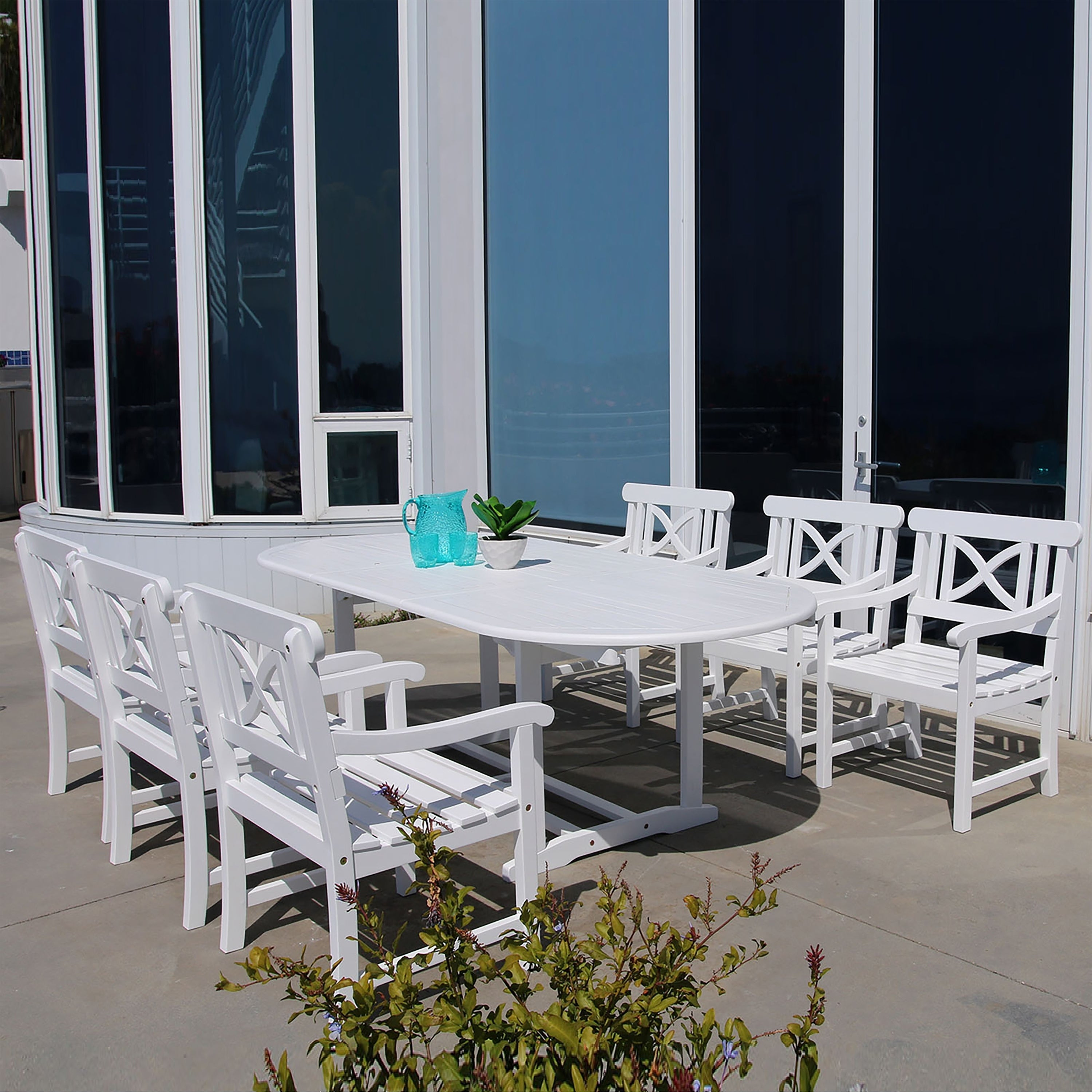 Vifah Bradley Oval Extension Table and Armchair Outdoor Wood Dining Set (Outdoor Furniture), White, Size 7-Piece Sets, Patio Furniture (Acacia)
