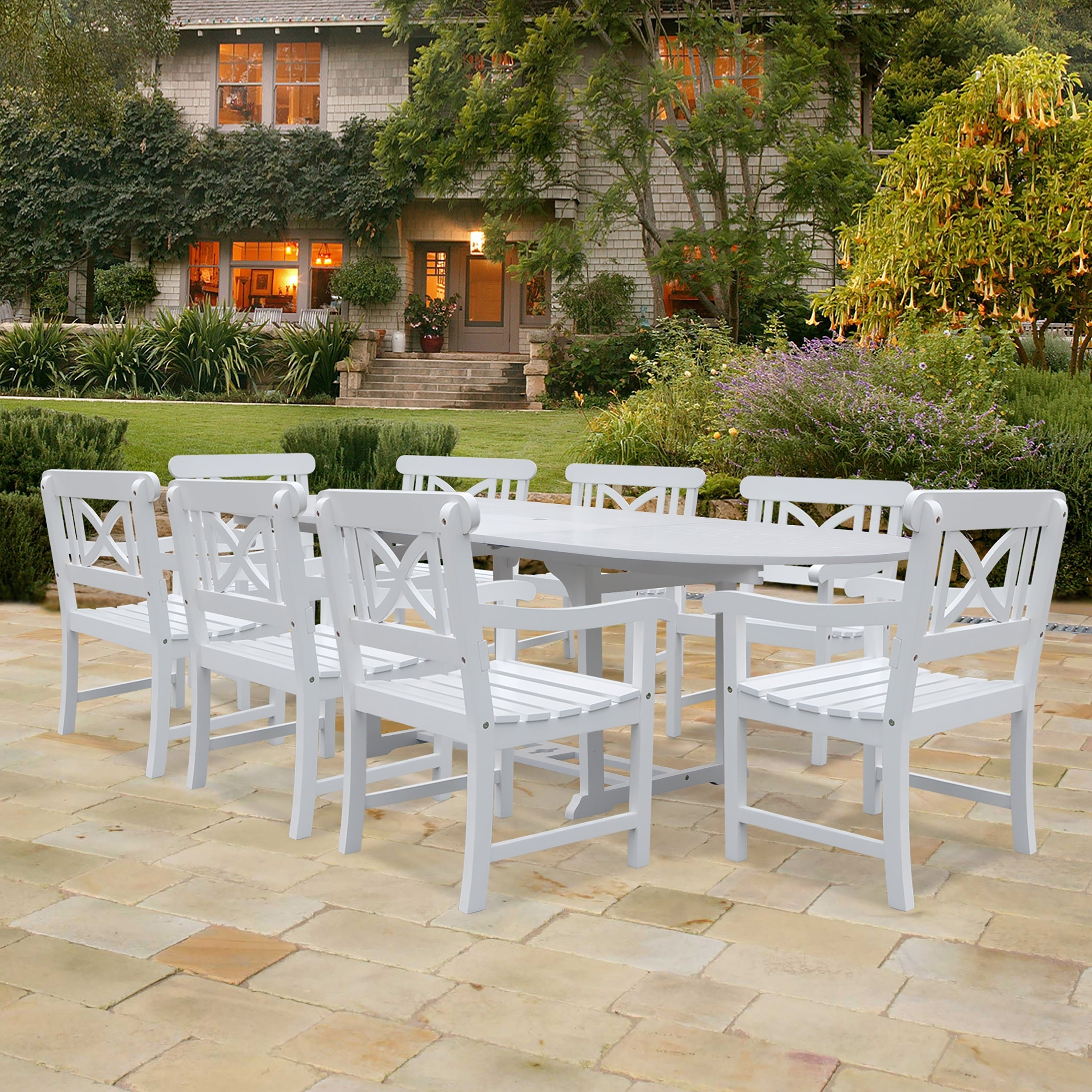 Vifah Bradley Oval Extension Table and Cross-Back Armchair Outdoor Wood Dining Set (Outdoor Furniture), White, Size 9-Piece Sets, Patio Furniture