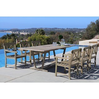 Renaissance Rectangular Extension Table and Armchair Outdoor Hand-scraped Hardwood Dining Set