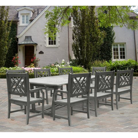 Renaissance Rectangular Outdoor Hand-Scraped Hardwood Dining Set