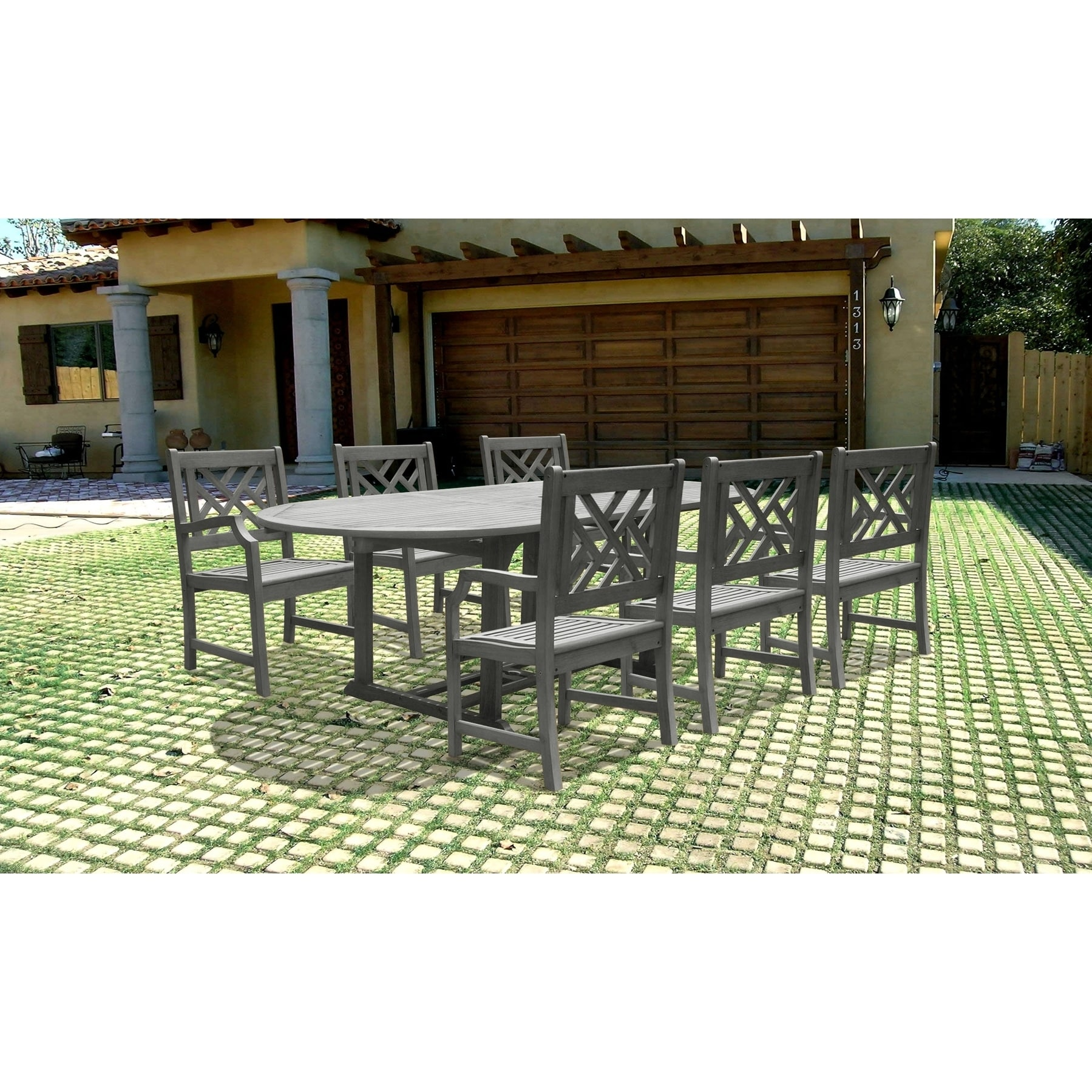 Vifah Renaissance Oval Extension Table and Armchair Outdoor Dining Set (Outdoor Furniture), Brown, Patio Furniture (Wood)
