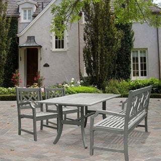 Havenside Home Surfside Rectangular Table with Bench and Armchair Outdoor Hardwood Dining Set