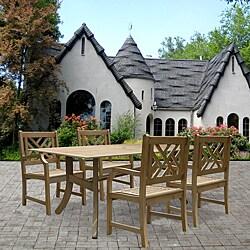 Renaissance Rectangular Table and Armchair 5-piece Outdoor Hardwood Dining Set