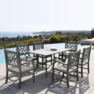 Renaissance Hardwood 7-piece Rectangular Table and Armchair Outdoor Dining Set