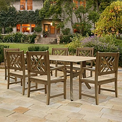 Renaissance Hardwood 7-piece Rectangular Table and Armchair Outdoor Dining Set