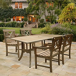 Renaissance Rectangular Table and Armchair 5-piece Outdoor Hand-scraped Hardwood Dining Set
