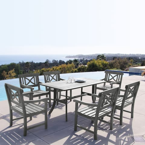 Renaissance Rectangular Table and Armchair 7-piece Hand-scraped Hardwood Outdoor Dining Set