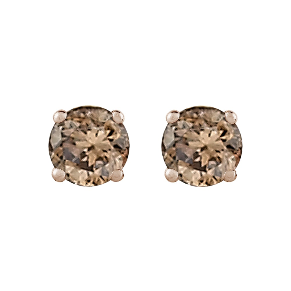 14k White Gold 1/2ct TDW Brown Diamond Solitaire Stud Earrings