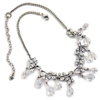 Sweet Romance Navette Crystal Vine Wedding Necklace