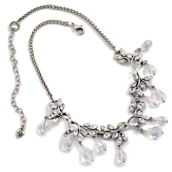 Sweet Romance Navette Crystal Vine Wedding Necklace