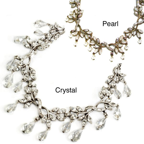 Sweet Romance Vintage Crystal and Faux Pearl Vine Necklace