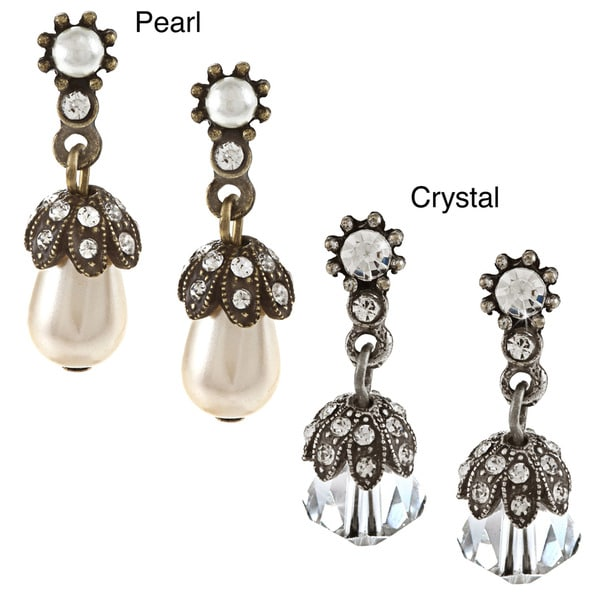 Sweet Romance Victorian Pearl and Crystal Wedding Earrings