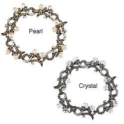 Sweet Romance Edwardian Pearl and Crystal Wedding Bracelet