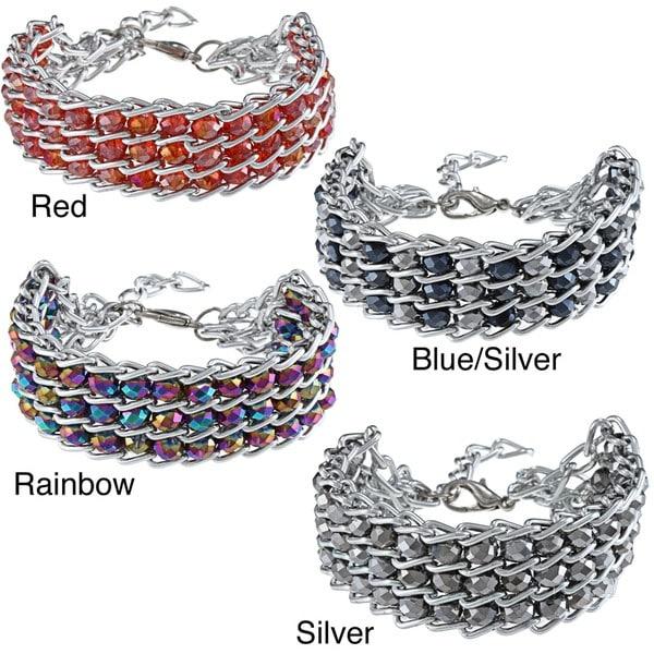 La Preciosa Silvertone Triple Row Hematite Beads Bracelet