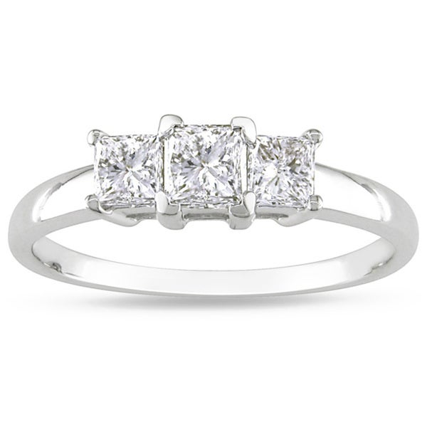 Miadora 14k White Gold 1ct TDW Diamond Three-stone Ring (H-I, I2-I3)