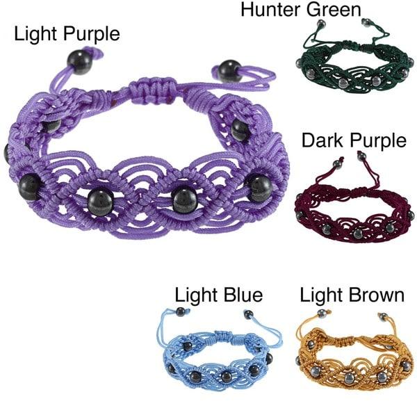 La Preciosa Hematite Beads Cord Macrame Bracelet