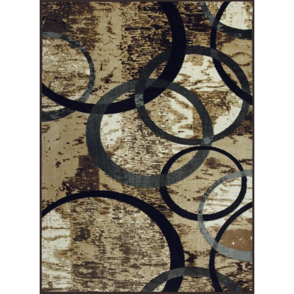 Somette Allestra Circle of Life Grey Rug (4' x 6')