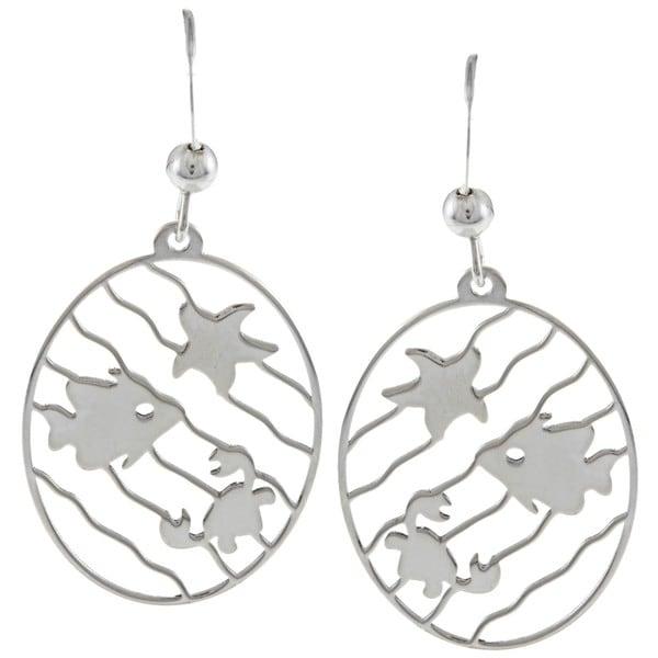 La Preciosa Sterling Silver Wavy Line Sea Life Oval Earrings