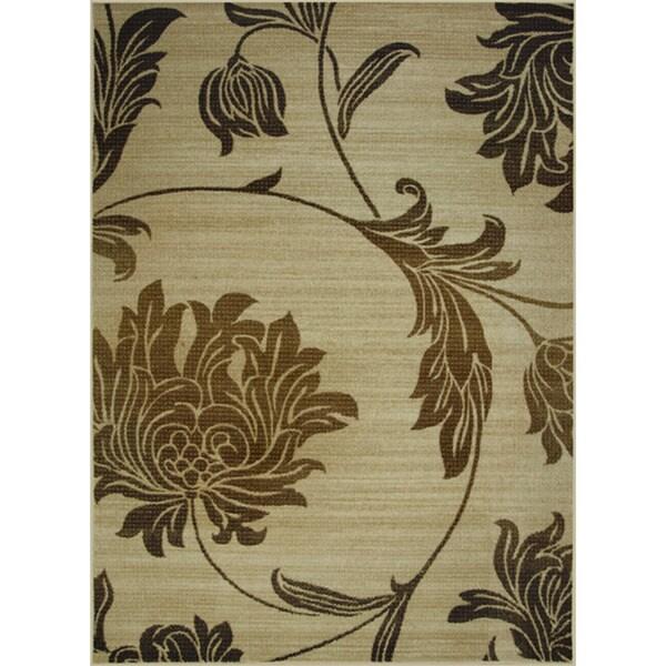 Somette Avante Peony Bouquet Beige Rug (4' x 6')