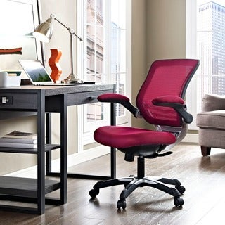 Edge Office Chair with Burgundy Mesh Back and Mesh Fabric Seat