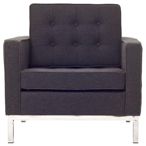 Florence Style Dark Grey Wool Armchair Chair