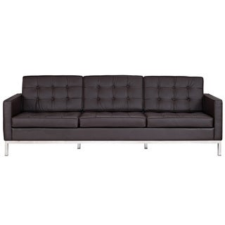 Florence Style Brown Faux Leather Sofa
