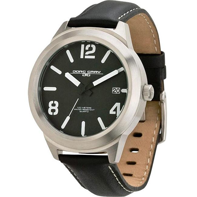 Jorg Grey Men's Black and Silver Watch