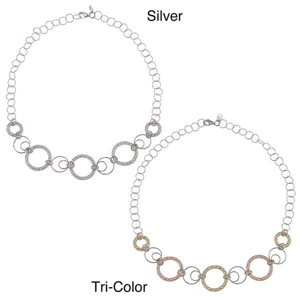 La Preciosa Sterling Silver Multi-circle Link 17-inch Necklace