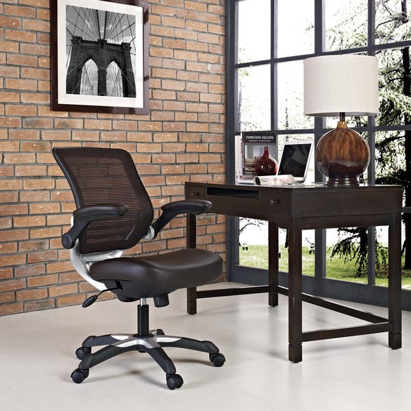 Enjoyable Shop Edge Brown Mesh Back Faux Leather Office Chair On Alphanode Cool Chair Designs And Ideas Alphanodeonline
