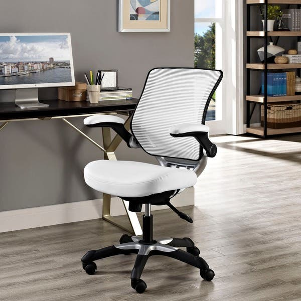 Marvelous Shop Edge Brown Mesh Back Faux Leather Office Chair On Alphanode Cool Chair Designs And Ideas Alphanodeonline