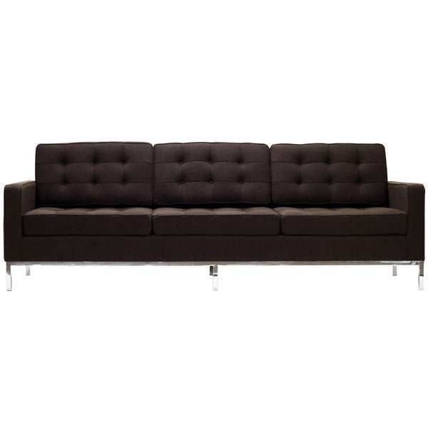Florence Style Chocolate Brown Wool Sofa