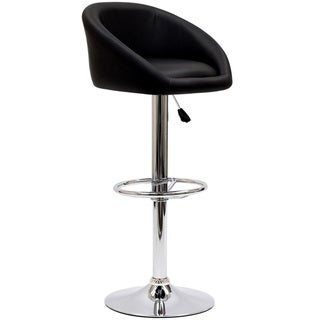 Marshmallow Black and Chrome Barstool
