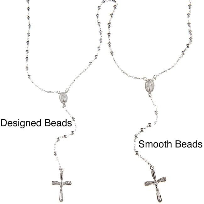 La Preciosa High-polish Sterling Silver Beaded Rosary Necklace