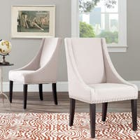 Safavieh En Vogue Dining Sloping Arm Beige Linen Nailhead Dining Chairs (Set of 2)